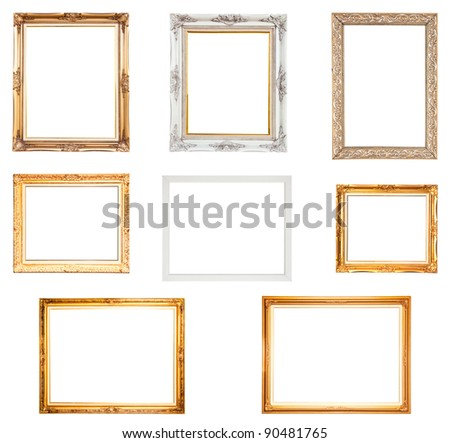 Collection Set of picture frame, isolated with clipping path - stock photo