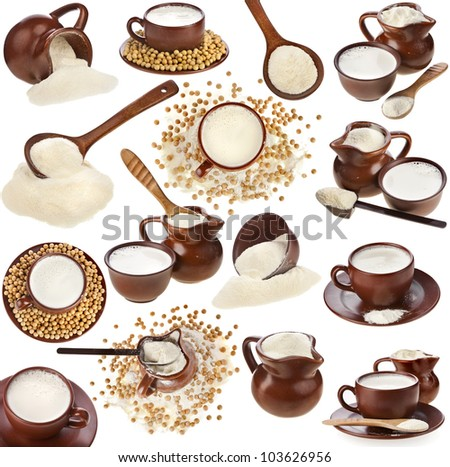Collection set of powdered milk drink in clay pitcher, soy beans and cup isolated on white background - stock photo