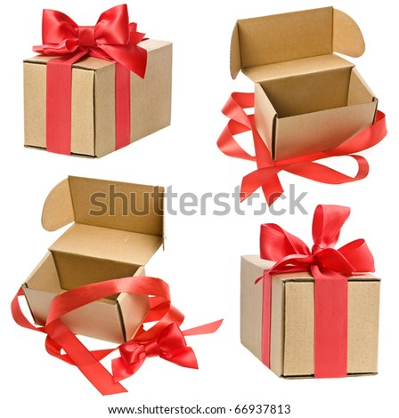 Collection set of present boxes with red ribbon bows isolated on white - stock photo