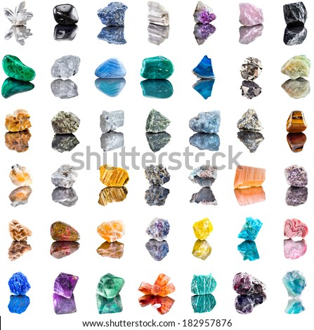 Collection set of semi-precious gemstones stones and minerals isolated on white  background  - stock photo
