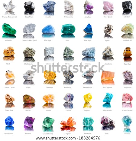 Collection set of semi-precious gemstones stones and minerals with names isolated on white  background  - stock photo