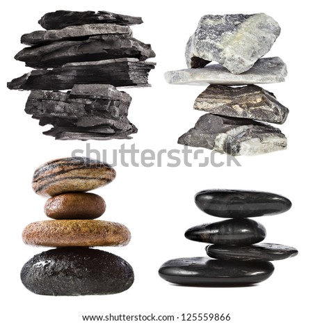 Collection set of  stack tower of black coal , marble, cobble rock, isolated on white background - stock photo