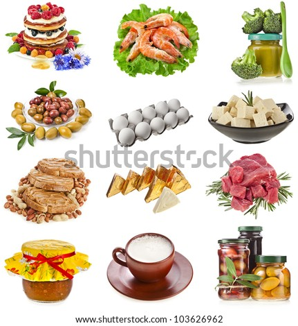 Collection Set of Tasty and healthy natural food, eating,  isolated on a white background