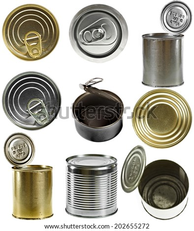 Collection set of tin cans isolated on white background - stock photo