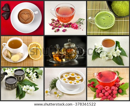 Collection set with different herbal drink tea in cap close up - stock photo