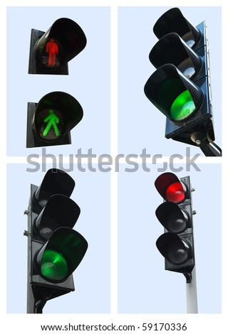 Collection stoplights - stock photo