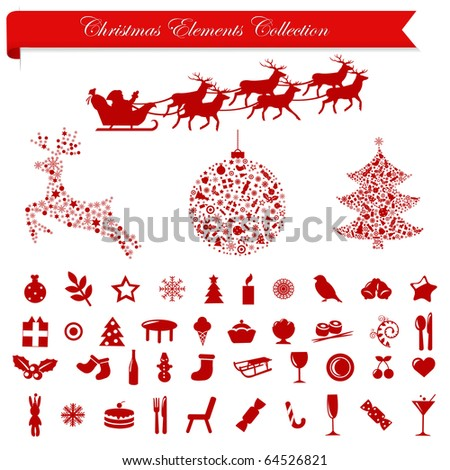 Collection Stylized Christmas Icons And Elements, Isolated On White Background