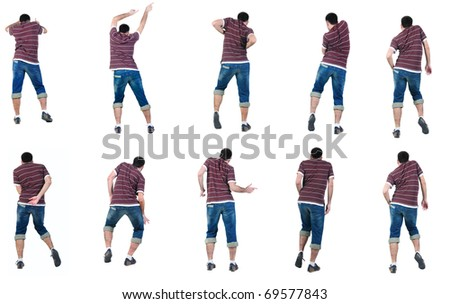 """Collection """"The back of young man dancing"""". Rear view. Isolated over white. - stock photo"""