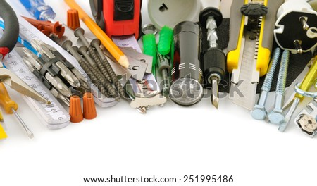 collection tools isolated on white background - stock photo
