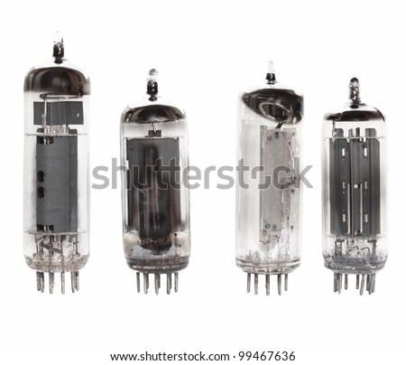 collection valve radio tube isolated on white background, with clipping path - stock photo