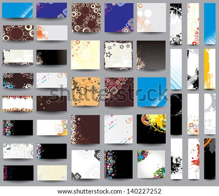 Collection vector headers on different topics. Raster version - stock photo