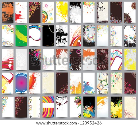 Collection vertical cards on different topics. Raster version - stock photo