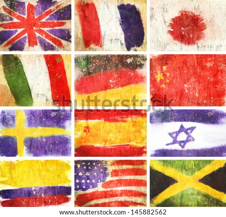 collection vintage flags world Retro style background - stock photo