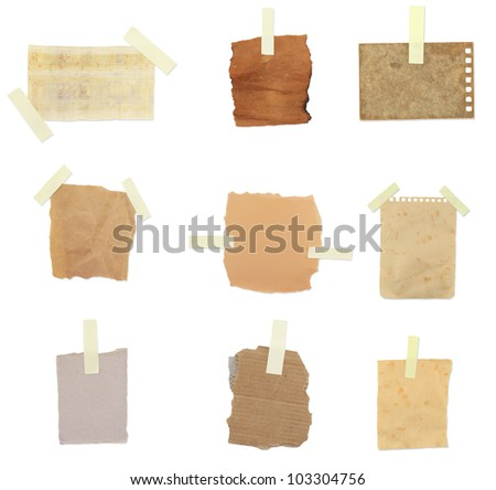 collection vintage paper notes - stock photo