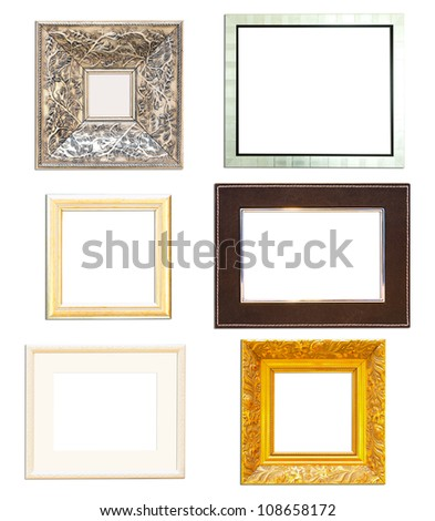 Collection Vintage picture frame, wood plated, white  background - stock photo