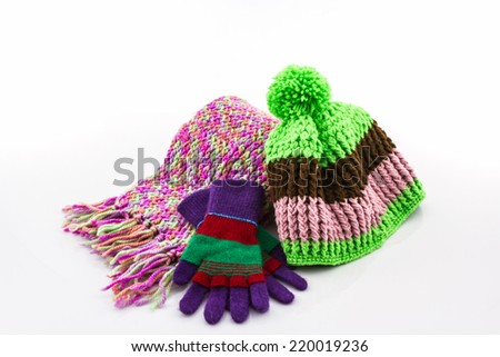 Collection Winter with accessories, Colorful woolen glove, scarf and hat. - stock photo