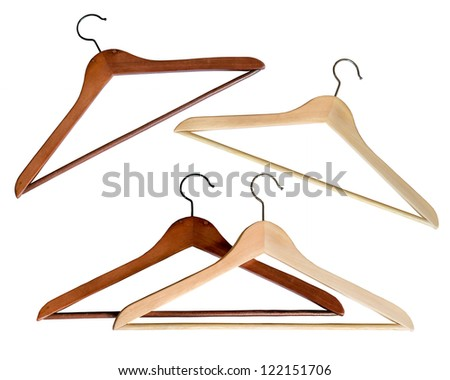 Collection wooden coat hanger - stock photo