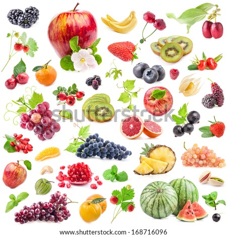 Collections of fruits isolated on white background - stock photo
