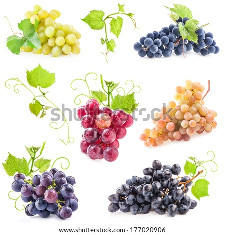 Collections of Ripe grapes with leaves isolated on white - stock photo
