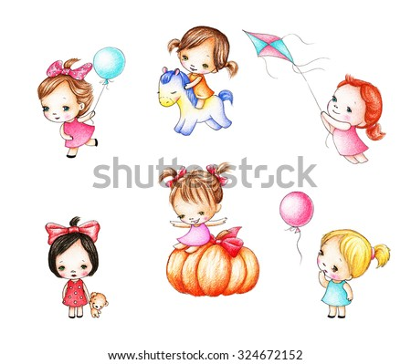 Collections of six drawings of little girls on white background - stock photo