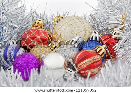 collections of the colored christmas toys - stock photo