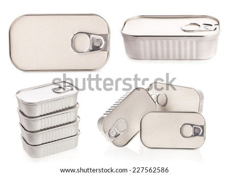 Collections of Tin can for new design isolated on white background  - stock photo