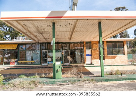 Collector-New South Wales, September 21, 2006. View of an abandoned petrol station in the small country town of Collector, in the Australian state of New South Wales