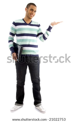 college boy holding laptop and showing hand gesture with white background - stock photo