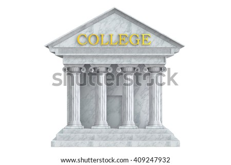 College building with columns, 3D rendering