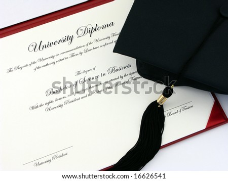 College Diploma and Cap - stock photo