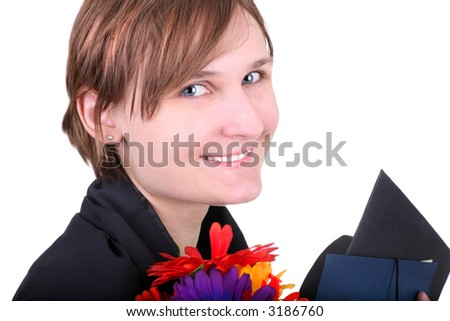 college girl holding flowers, degree and graduation hat after the convocation ceremony, isolated on white - stock photo