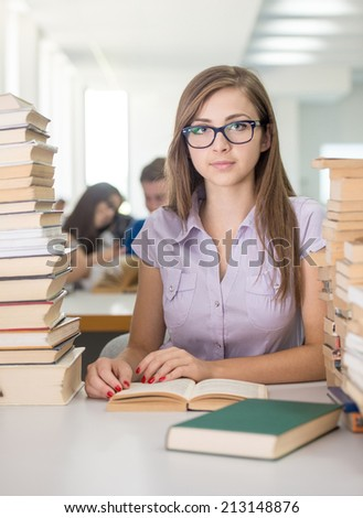 College girl student on university campus - stock photo