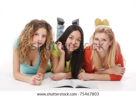 College girls studying - stock photo