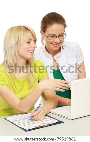 College girls studying, isolated on white - stock photo
