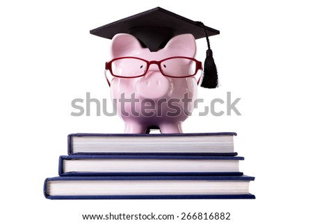 College graduate student piggy bank front view - stock photo