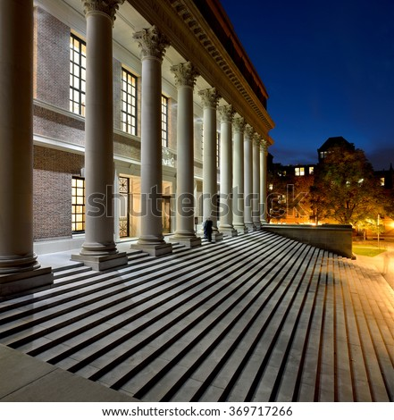 College library, Harvard University - stock photo