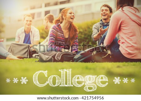 College message against college students sitting in the park - stock photo