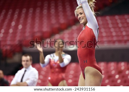 COLLEGE PARK, MD - JANUARY 9: Maryland gymnast Katy Dodds performs on the floor exercise during a meet January 9, 2015 in College Park, MD.