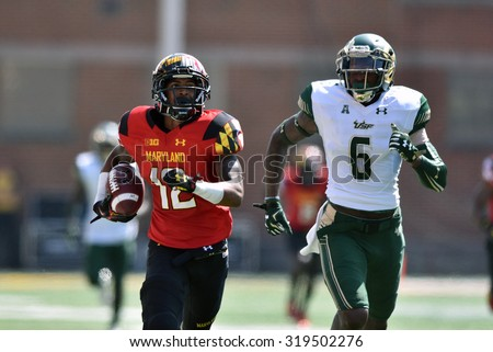 COLLEGE PARK, MD - SEPTEMBER 19: Maryland Terrapins wide receiver Taivon Jacobs (12) runs for what would be a touchdown during a NCAA football game September 19, 2015 in College Park, MD.