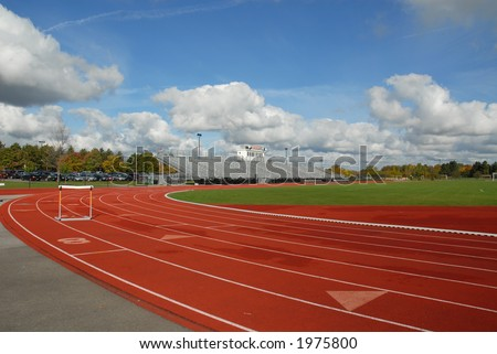 College running track with hurdle, Rochester, New York - stock photo