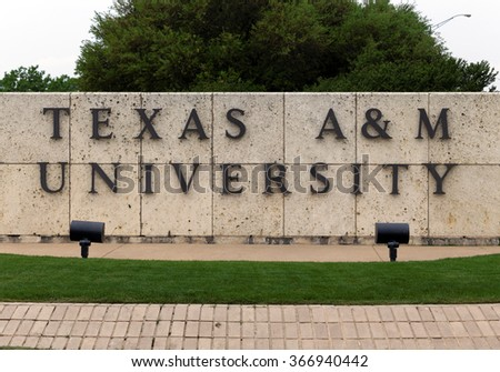 COLLEGE STATION, TX - APRIL 3: An entrance to Texas A&M University in College Station, Texas on April 3rd, 2015. Texas A&M University is a public research university located in College Station, Texas. - stock photo