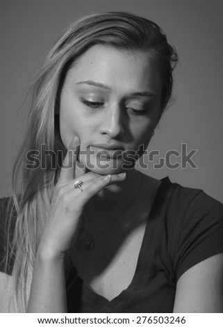 College Student Contemplates Life - stock photo