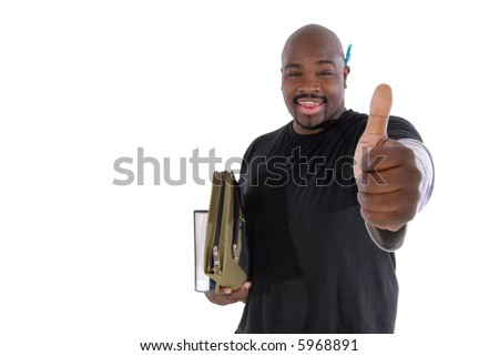 College student giving thumbs up to show just how fun and exciting learning can be; focus on hand - stock photo