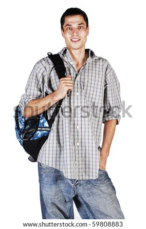 College student holding a backpack - stock photo