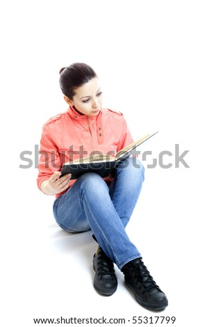 College student on isolated white background - stock photo