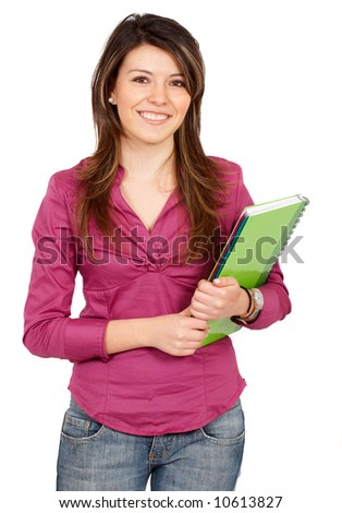 college student smiling - isolated over a white background
