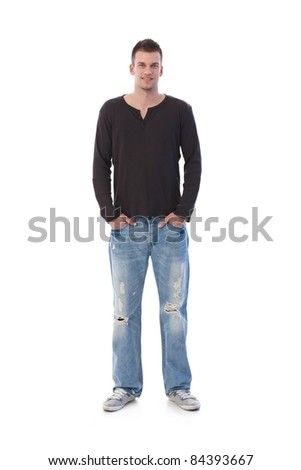 College student wearing jeans, smiling.?