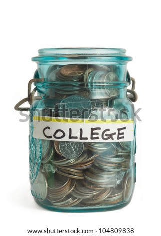 College tuition education savings money in jar