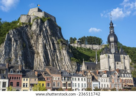 Collegiate Church of Notre-Dame in Dinant, Waloon region, Belgium - stock photo
