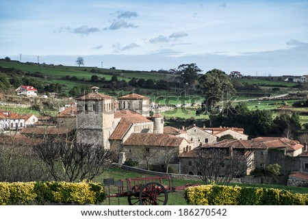 Collegiate Church of Santa Juliana in Santillana del Mar, Cantabria, Spain - stock photo